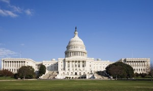 wide-angle view of the United States Capitol Building in Washington, DC, on a clear day